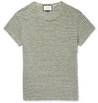 Gucci Slim Fit Striped Linen T Shirt Green