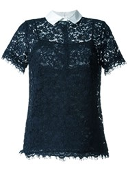 Michael Michael Kors Short Sleeve Lace Blouse Blue