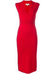 Michael Michael Kors V Neck Fitted Midi Dress Red