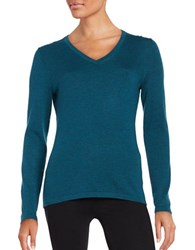 Lord And Taylor Merino Wool V Neck Sweater Teal Heather