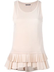 Alexander Mcqueen Pleated Hem Tank Top Nude And Neutrals