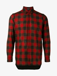Ann Demeulemeester Buffalo Check Wool Cotton Blend Shirt Black Red Denim