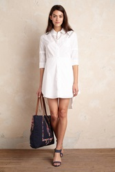 Anthropologie Merian Poplin Shirtdress White