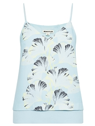 Whistles Palm Print Double Layer Cami Blue