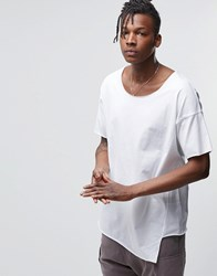 Asos Oversized T Shirt With Raw Scoop Neck And Layered Hem White