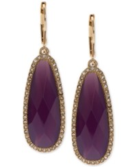 Lonna And Lilly Gold Tone Large Purple Stone Drop Earrings