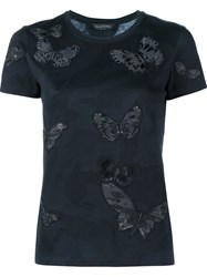 Valentino Rockstud Butterfly Embroidered T Shirt Black