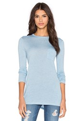 Alexander Wang Classic Long Sleeve Tee With Pocket Blue