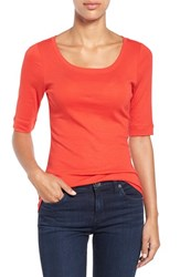 Caslonr Women's Caslon Ballet Neck Cotton And Modal Knit Elbow Sleeve Tee Red Mars