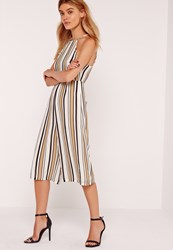 Missguided Petite Exclusive Striped Culotte Jumpsuit Camel Beige