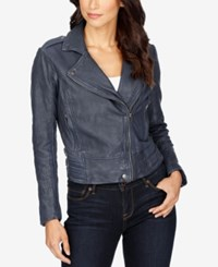 Lucky Brand Zippered Leather Jacket American Navy