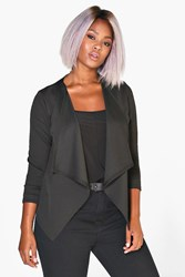 Boohoo Tasha Waterfall Blazer Black