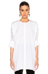 Givenchy Button Down Blouse With Lace Sleeves In White