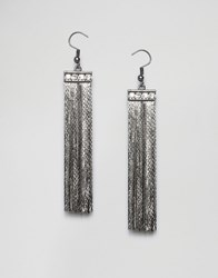 Paper Dolls Tassel Drop Earrings Gunmetal Grey