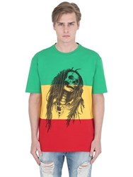 Palm Angels Rasta Skull Cotton Jersey T Shirt