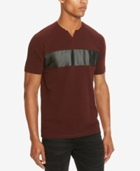 Kenneth Cole Reaction Men's Mixed Media Faux Leather Trim Henley Merlot