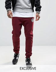 Hype Skinny Joggers With Crest Logo Burgundy Red