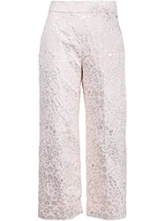 Delpozo Textured Cropped Trousers Pink And Purple