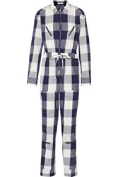 Equipment Maverick Checked Cotton Jumpsuit Storm Blue