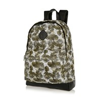 River Island Mens Green Leaf Print Mesh Backpack
