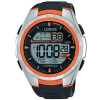 Lorus R2311lx9 Men's Digital Day Date Silicone Strap Watch Black
