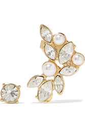 Kenneth Jay Lane Gold Tone Crystal And Faux Pearl Stud And Ear Cuff Set Metallic