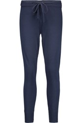Chinti And Parker Merino Wool Cashmere Blend Tapered Pants Midnight Blue