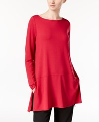 Eileen Fisher Boat Neck Tunic With Seam Detail A Macy's Exclusive Red Rose