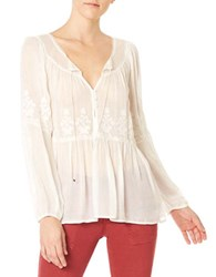 Sanctuary Melody Embroidered Peasant Blouse Creme