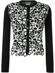 Boutique Moschino Floral Macrame Knit Cardigan Black