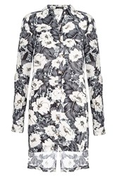 Quiz Grey Floral Cross Back Blouse