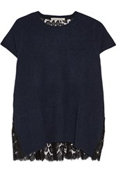 Autumn Cashmere Lace Paneled Top Midnight Blue