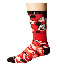 Neff All Smiles Mickey Sock Red Men's Crew Cut Socks Shoes