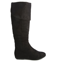 Truffle Collection Truffle Knee High Fold Over Top Boots Black