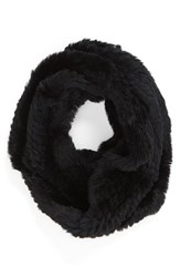 Women's Jocelyn Genuine Rabbit Fur Infinity Scarf Black
