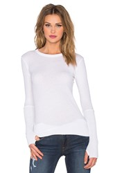 Enza Costa Cashmere Cuffed Crew Neck Top White