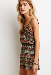 Forever 21 Abstract Medallion Belted Romper Mustard Rust