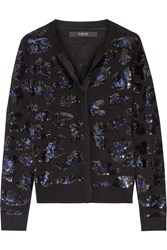 Sibling Sequin Embellished Merino Wool Cardigan Black