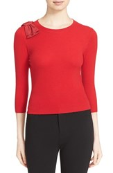 Ted Baker Women's London 'Callah' Bow Detail Crewneck Sweater Bright Red