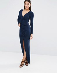 Club L Long Sleeve Maxi Dress With Ruched Detail Navy