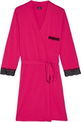 Cosabella Perugia Lace Trimmed Pima Cotton And Modal Blend Robe Fuchsia