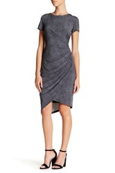 London Times Short Sleeve Denim Ruched Dress Petite Gray