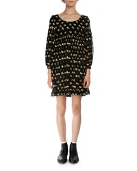 Saint Laurent Floral Print Empire Waist Silk Dress Black Multi Black Multi