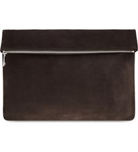 Reiss Foldover Suede Pouch Brown
