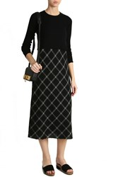 Tibi Plaid Strappy Bias Dress Black
