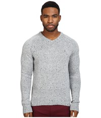 Original Penguin Saddle Raglan Donegal V Neck Sweater Griffin Men's Sweater Gray