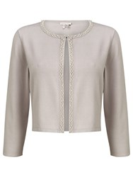 Jacques Vert Beaded Front Cardigan Light Grey