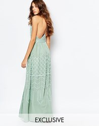 Frock And Frill Embellished Plunge Neck Maxi Dress With Open Back Spray Green