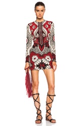 Valentino Foulard Print Crepe Long Sleeve Romper In Red Floral