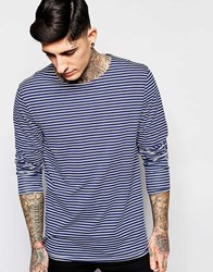 Scotch And Soda T Shirt With Breton Stripe In Navy Long Sleeves Navy